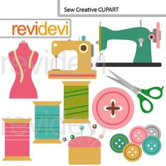 Clip art Sew Creative. This digital clipart set features sewing machines, buttons, scissor, thread, and mannequin. Great for fashion design themed projects.This cute digital clipart set is great for teachers and educators. The collection is suitable for school and classroom projects such as for bulletin board, learning printable, worksheet, classroom decor, craft materials, activities and games, and for more educational and fun projects.You will receive:- Each clipart saved separately in PNG…