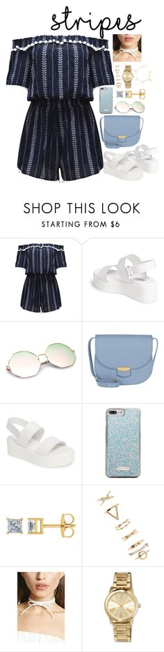 """""""ROMPERRR! ☀️"""" by pretty-sassy ❤ liked on Polyvore featuring WithChic, Steve Madden, CÉLINE, Skinnydip, Forever 21, MICHAEL Michael Kors, Summer, stripes, prints and rompers"""