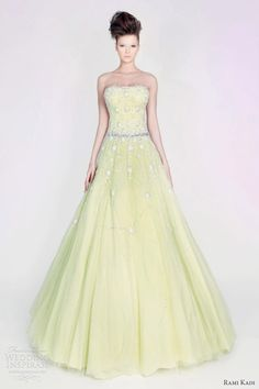 rami kadi couture 2013 yellow wedding gown - hand embroidered strapless tulle gown