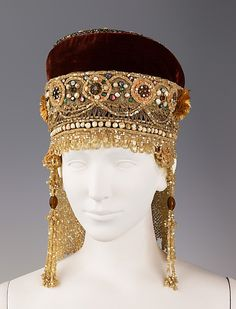 Headdress. Date: 19th century Culture: Russian. Medium: silk, metal, mother-of-pearl, pearl