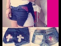 Shorts con Encaje DIY | Arwen - YouTube Short Jeans, Bow Shorts, Jean Shorts, Diy Pantalones Cortos, Shorts Tutorial, Blue Jeans, Youtube, Bows, Sewing