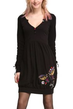 fa78bc040 Desigual women s Atnik dress. It a long-sleeved black dress