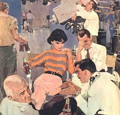 An illustration for Coca-Cola by Bernie Fuchs. Apparently, TV goes better with Coke, yet, for Bernie, an attractive woman interacting with men is almost always front and center. History Of Illustration, Fuchs Illustration, Magazine Illustration, Illustrations, Retro Art, Vintage Art, Vintage Cartoon, Vintage Signs, Cartoon Art