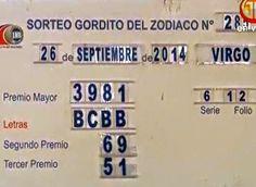 Resultados sorteo Gordito del Zodiaco viernes 26 de Septiembre del 2014... detalles completo ver el Blog....