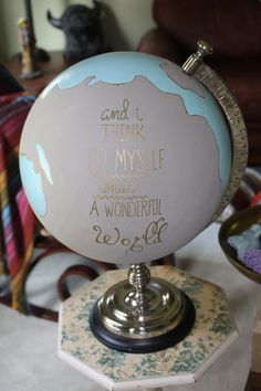 Custom Wedding Guest Book Hand Painted Globe by SimplyLoveCrafting on Etsy.or a centerpiece for every table, with various love quotes on it. Art Globe, Globe Decor, Painted Globe, Hand Painted, Globe Guest Books, Childrens Tea Sets, Decoration Originale, Creation Deco, Bedroom Decor
