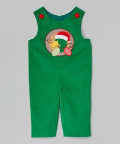 Look what I found on #zulily! Green Christmas Duck Overalls - Infant & Toddler #zulilyfinds