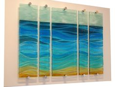 Sand, Sea and Sky - 5 Part Fused Glass Panel on Board by Nicky Exell Glass Wall Art, Fused Glass Art, Mosaic Glass, Glass Artwork, Slumped Glass, Kiln Formed Glass, Stained Glass Patterns, Glass Design, Glass Panels