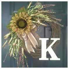 Door wreath fall monogram wreath monogram by AutumnWrenDesigns, $57.00