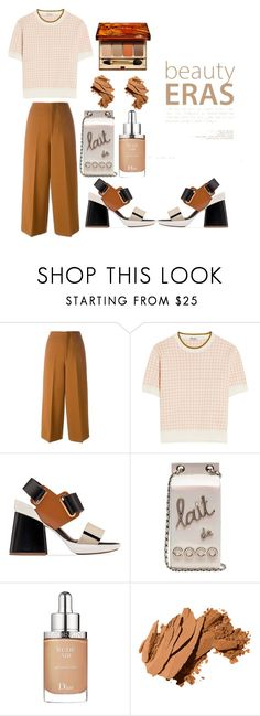 """""""tones"""" by court-g ❤ liked on Polyvore featuring Marni, Miu Miu, Chanel, Christian Dior, Bobbi Brown Cosmetics and Clarins"""