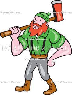 Paul Bunyan LumberJack Isolated Cartoon Cartoon Stock Illustration