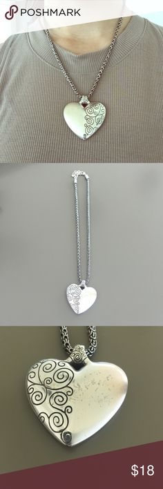 Brighton heart necklace Beautiful necklace with a wide elegant chain. Scratches on the heart pendant as seen in the picture. Brighton Jewelry Necklaces