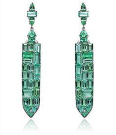 October - Baguette Paraiba Tourmaline earrings by Sutra. Tourmaline Earrings, Emerald Earrings, Gemstone Earrings, Luxury Jewelry, Modern Jewelry, Fine Jewelry, Body Jewelry Shop, Plastic Jewelry, Jewelry Trends