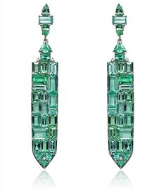 Baguette Paraiba Tourmaline earrings by Sutra.