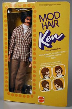 Mod Hair Ken doll with combable hair, beard, sideburns and choice of 2 moustaches, 1972 Barbie Y Ken, Ken Doll, Vintage Barbie Dolls, Barbie Stuff, 1970s Dolls, 1970s Childhood, My Childhood Memories, Childhood Toys, School Memories