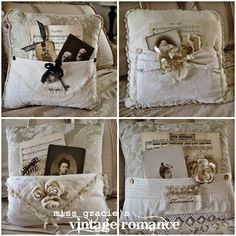 old photos and lace on pillow. love these!