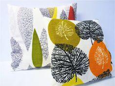 50s barkcloth cushions