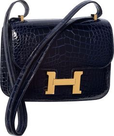 Hermes 18cm Shiny Blue Marine Alligator Double Gusset Constance Bag with Gold Hardware
