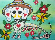 Original Art ACEO ATC Mexican Day of the Dead Dog by JEllisonArt, $5.00