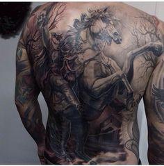 Sick headless horseman back tattoo