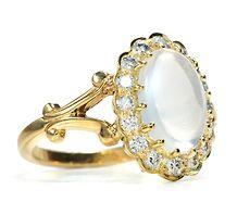 Modern Classic Moonstone & Diamond Ring