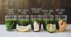 Green juice, five ways. Smoothie Shop, Juice Smoothie, Healthy Smoothies, Healthy Eats, Green Juice Recipes, Cold Pressed Juice, Green Goddess, Fika, Coconut Water