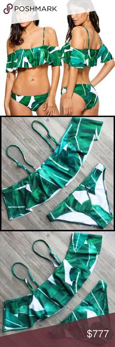 COMING SOON Banana Leaves Swimsuit Two piece off shoulder green & white banana leaves swimsuit. Polyester/Nylon material. NWOT from wholesaler. Check out my other items for a bundle discount. PRICE FIRM UNLESS BUNDLED!!! Swim Bikinis