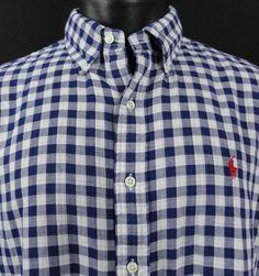 NWT Ralph Lauren Mens XL Royal/White Gingham Plaid Shirt Button Up Red Pony  LS