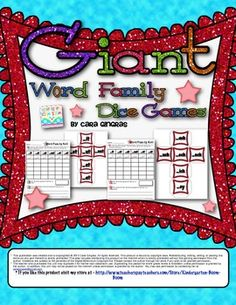 Giant Word Family Glitter Dice Games -  8 giant glitter dice, 8 colored recording sheets, 8 b/w recording sheets - Fabulous for review, practice, or centers - Covers 48 word families $ word famili