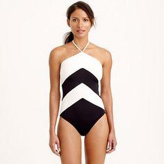 J.Crew - Chevron halter one-piece swimsuit
