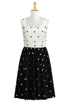 Polka dot embellished poplin dress