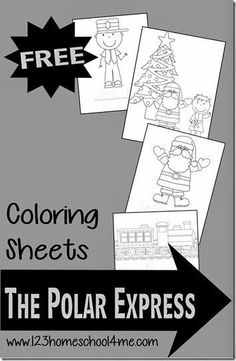 FREE Polar Express Coloring Sheets - These coloring pages are so cute and fun Christmas Activity for toddler, preschool, kindergarten, 1st grade, 2nd grade, 3rd grade.