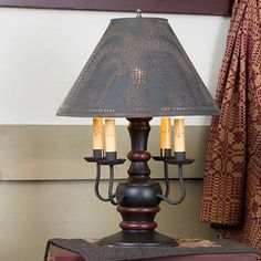 WOOD and WROUGHT IRON    Colonial Table Lamp with Candelabra    Your Choice of Punched Tin Shades      This stunning primitive country lamp exudes