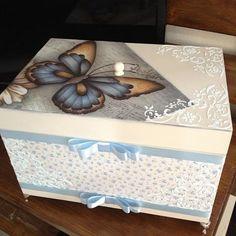 Caixa porta joia #caixaportajoias #feitoamao #euamoartesanato #amoartes #fazendoarte #azulebêge