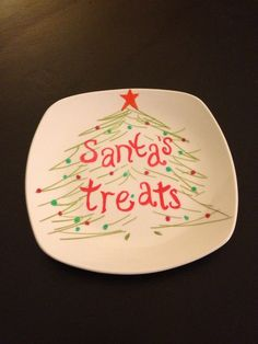 This is simply a ceramic plate, sharpie markers, bake at 300 for a 1/2 hour and it'll stay!  Can't wait to try this with the kids on Christmas morning!