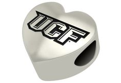 Solid sterling silver heart bead with Central Florida Knights logo engraved and filled with black enamel. Fits pandora style bracelets