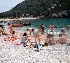 Corfu, Greece, Circa A beach scene at Paleokastritsa Corfu Island, Corfu Greece, Beach Scenes, Greek Islands, Planet Earth, Geology, Planets, Journey, Greek Isles