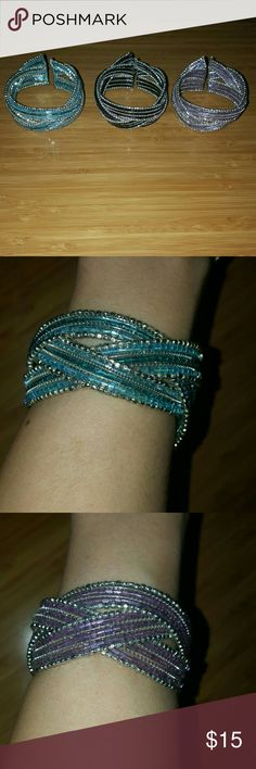 Beaded Bangles Brand new!  Hand Crafted Iridescent blue/purple/black  And Silver Beads Braided Strands Wide Stretch Memory Wire Cuff Bangle Bracelets Make great gifts Jewelry Bracelets