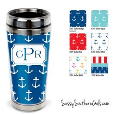 Monogrammed Travel Tumbler, Personalized Coffee Tumbler on www.SassySouthernGals.com Anchor Design