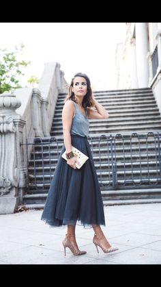 Tulle skirt-midi length, less volume/bulk