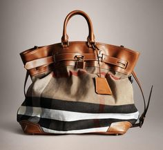 Burberry Bold Stitch Canvas Check Traveller Bag