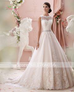 New Arrive Luxury Appliques Scoop Neck A Line Wedding Dresses 2015 Button Elegant Lace Bride Gowns Vestidos De Novia Plus Size