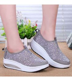Women's #grey slip on #rocker bottom sole shoe sneakers, lightweight, sewing thread design, hollow cut, Round toe, casual, leisure summer occasions.