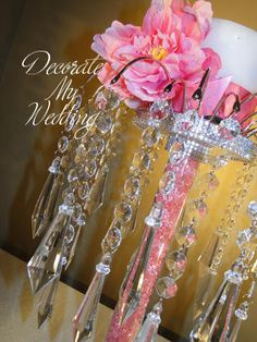 DECORATE MY WEDDING Crystal Centerpiece Stands with Diamond Pendants