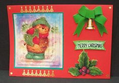 CUTE LITTLE HEDGEHOG WITH CHRISTMAS TREE Pyramid on Craftsuprint designed by Nick Bowley - made by Cheryl French - Printed onto glossy photo paper. Mounted onto green pearlescent card and then red card stock. Built up image with 1mm foam pads. Added gold peel offs. Glittered holly with Sparkles glitter glue. - Now available for download!