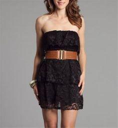 Black Lace Strapless Dresses