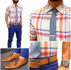 Love this color combination of blues, browns, tans, peach, and orange Cool Outfits, Casual Outfits, Fashion Outfits, Moda Men, Casual Wear, Men Casual, Mens Style Guide, Well Dressed Men, Gentleman Style