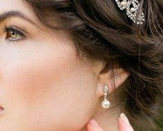 Wedding Earrings - Drop Pearl And Crystal Wedding Earrings, Rochelle
