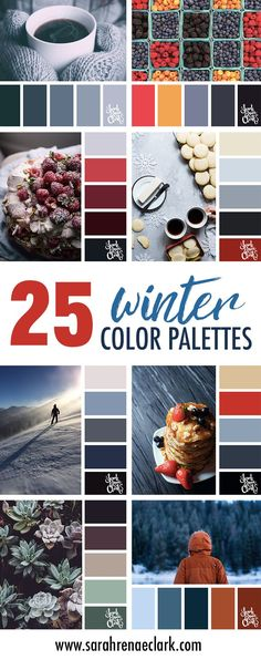 Get inspired with these 25 Winter color schemes // Find more winter color combinations, mood boards and seasonal color palettes at http://sarahrenaeclark.com #color #colorscheme #colorinspiration