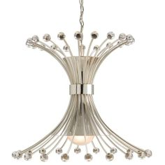 The Macayle Chandeleir is the ultimate in modern retro style. Featuring twenty polished nickel rods with glass orbs gracing either end of each rod, the rods are gathered together in the center and flare out forming this most eye catching shape. The Macayle Chandelier is a great way to update any room and effortlessly lend a little style to any space.  $1644