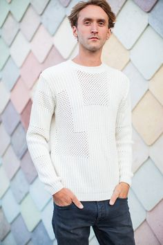 KNITWEAR: Wool Viscose Cashmere Blend in Mesh stitch and rib placement, Soar in Ecru by Genevieve Sweeney
